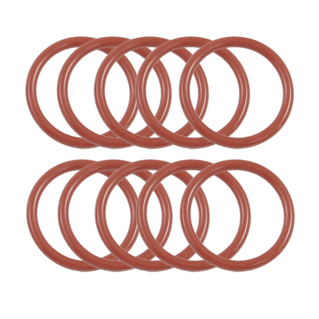 Sourcingmap 10 Pcs 25mm OD 20mm Inside Dia 2.5mm Thickness Silicone O Rings Oil Seals Gasket Dark Red a12041800ux0253