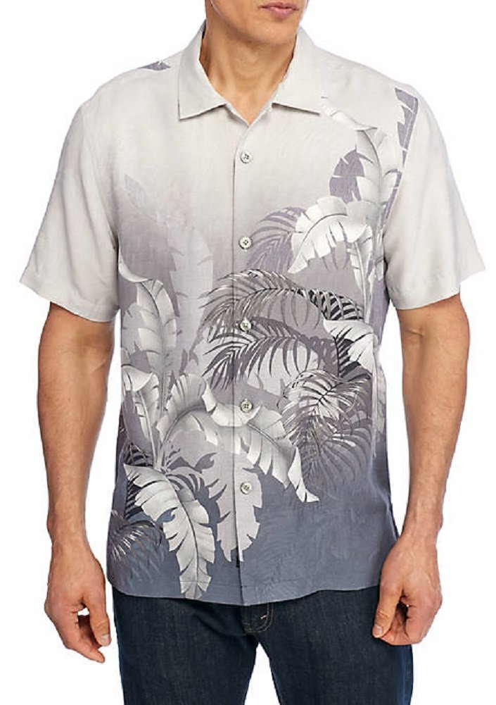 Tommy Bahama Mystic Palms Silk Camp Shirt (Color: Sleet, Size 3XL)