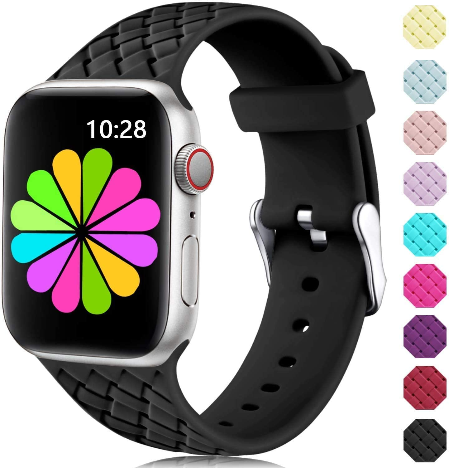 Haveda Sport Compatible for Apple Watch Series 5 40mm Band, Women 38mm Apple Watch Band, iWatch Series 5 Series 4 Bands for Apple Watch Series 3, Series 2 1 Black+Purple+Pink