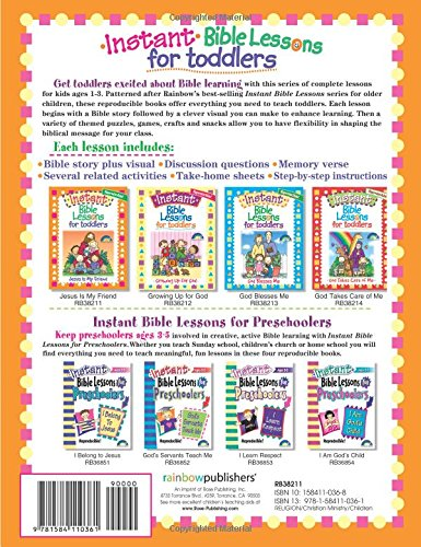 Workbook bible studies for kids worksheets : Instant Bible Lessons for Toddlers -- Jesus is My Friend: Mary J ...