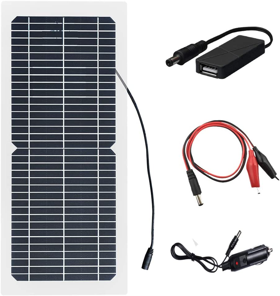 XINPUGUNAG 18V 10w Solar Panel Kit Battery Charger Semi-Flexible Monocrystalline Cell DIY Module Connector DC 12v 5V USB Cigarette Lighter Charge for Phone,Battery car