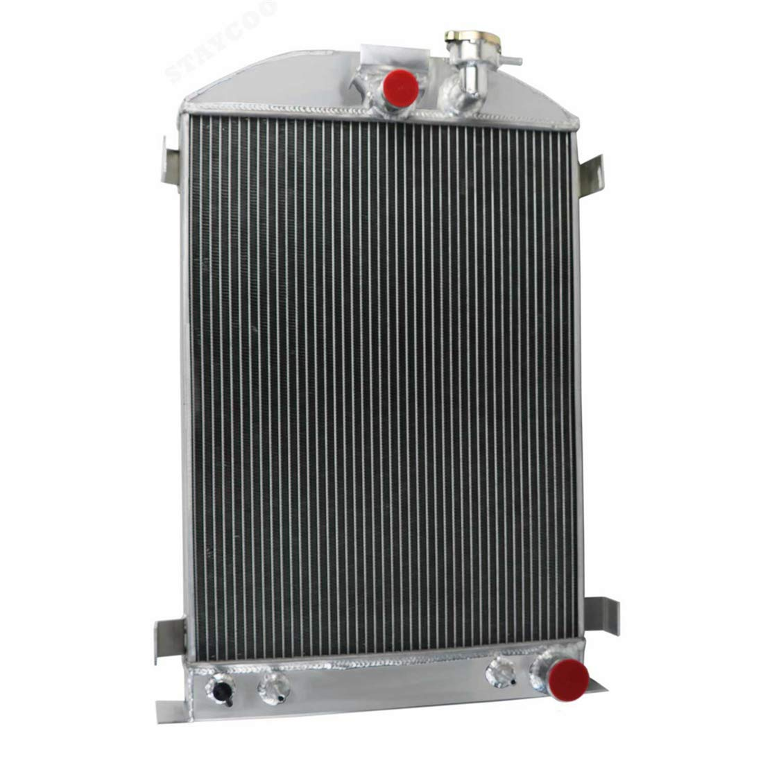 """STAYCOO 4 Row All Aluminum Radiator for 1930-1931 Ford Model A &1932 Model B with Chevy V8 Engine 28"""" Height 1935 1936 Hot Rod"""