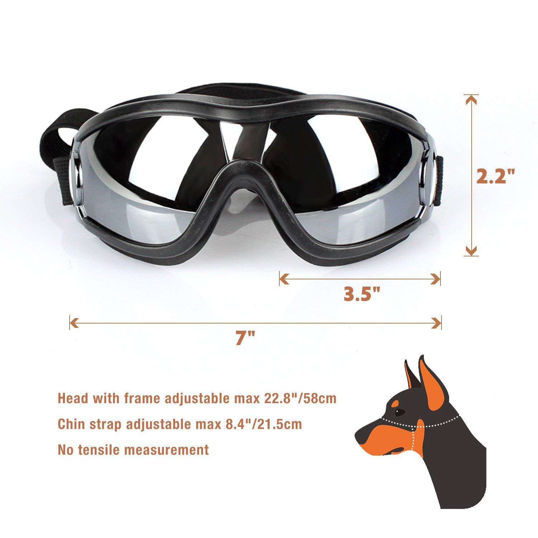 Pet Leso/® Large Dog Goggles UV Doggles Golden Retriever Goggles Grey
