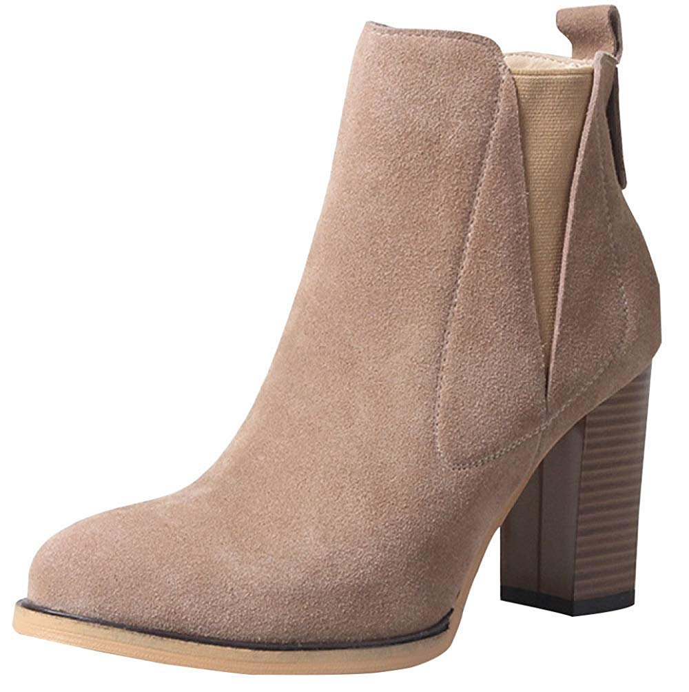 Qiusa Frauen Frühling Herbst Winter High Heels Matt Stiefeletten Warme Schuhe (Farbe   8 Größe   38EU)