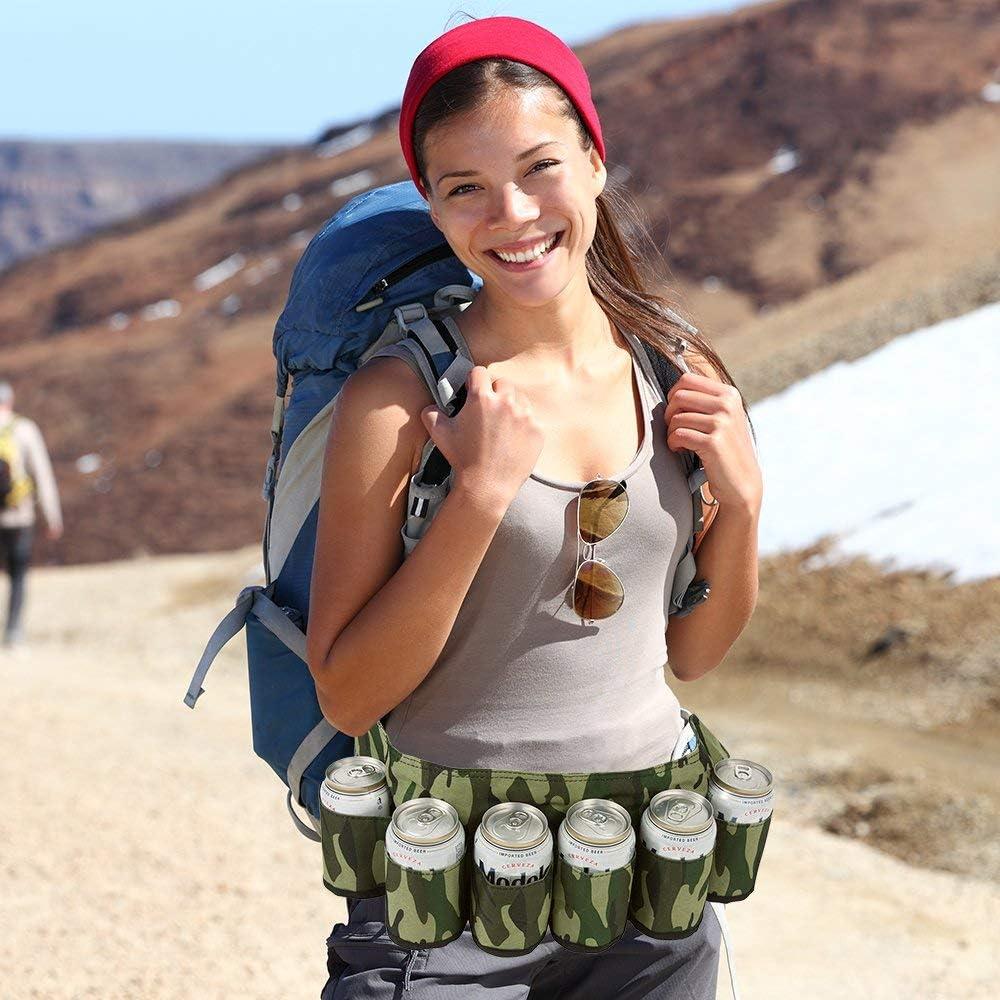 Beer Holster Drink Holder Beer Soda Can Belt Holster Beer Belt Bottle Holders Drink Can Holder Hiking Waist Pack Bag with Inside Money Holder Water Bottle Holder Travel Beach Can Holster 6 Beverages