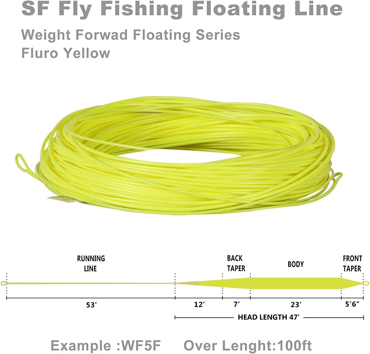 SF Weight Forward Floating Fly Fishing Line Welded Loop WF 1 2 3 4 5 6 7 8 9 wt