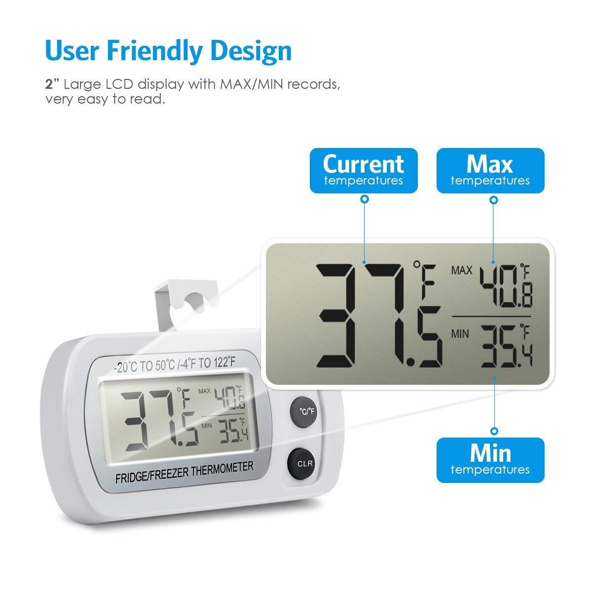 Termómetro digital para nevera, congelador con gancho, resistente ...