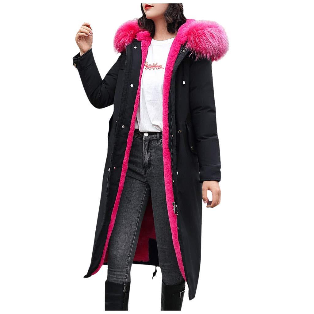 Allywit- Women Outerwear Faux Fur Hooded Button Coat with Pocket Long Solid Warm Jackets Windbreaker Coats Hot Pink by Allywit- Women