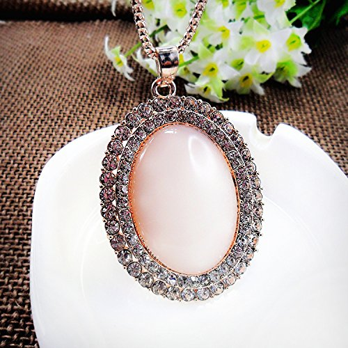 Beautiful Bead Golden Corn Chain Link Double Layer Rhinestones Oval Opal Pendant Necklace for Women(1Pcs)
