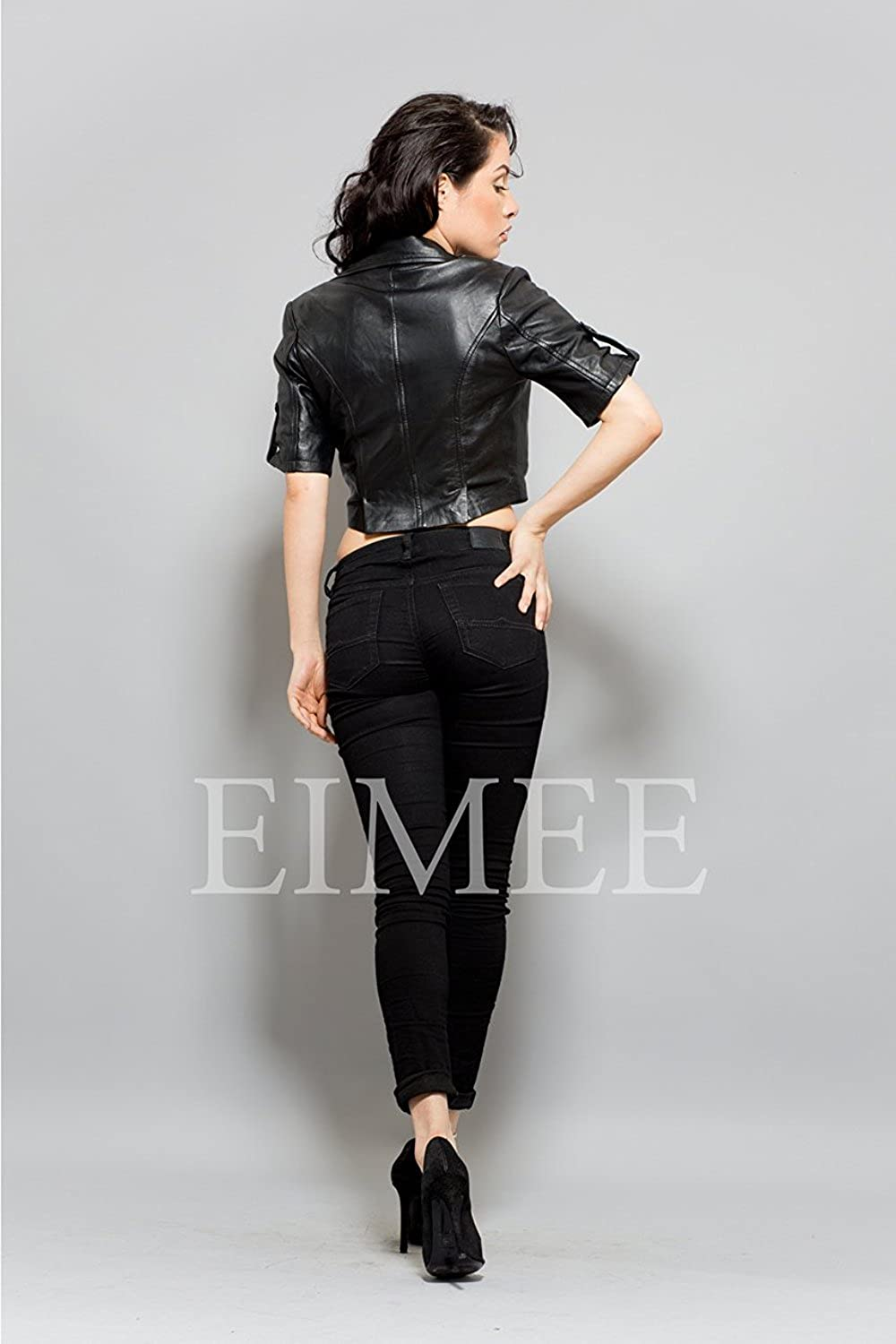 Real Leather Stylish High Waist Coat Jacket HILFI