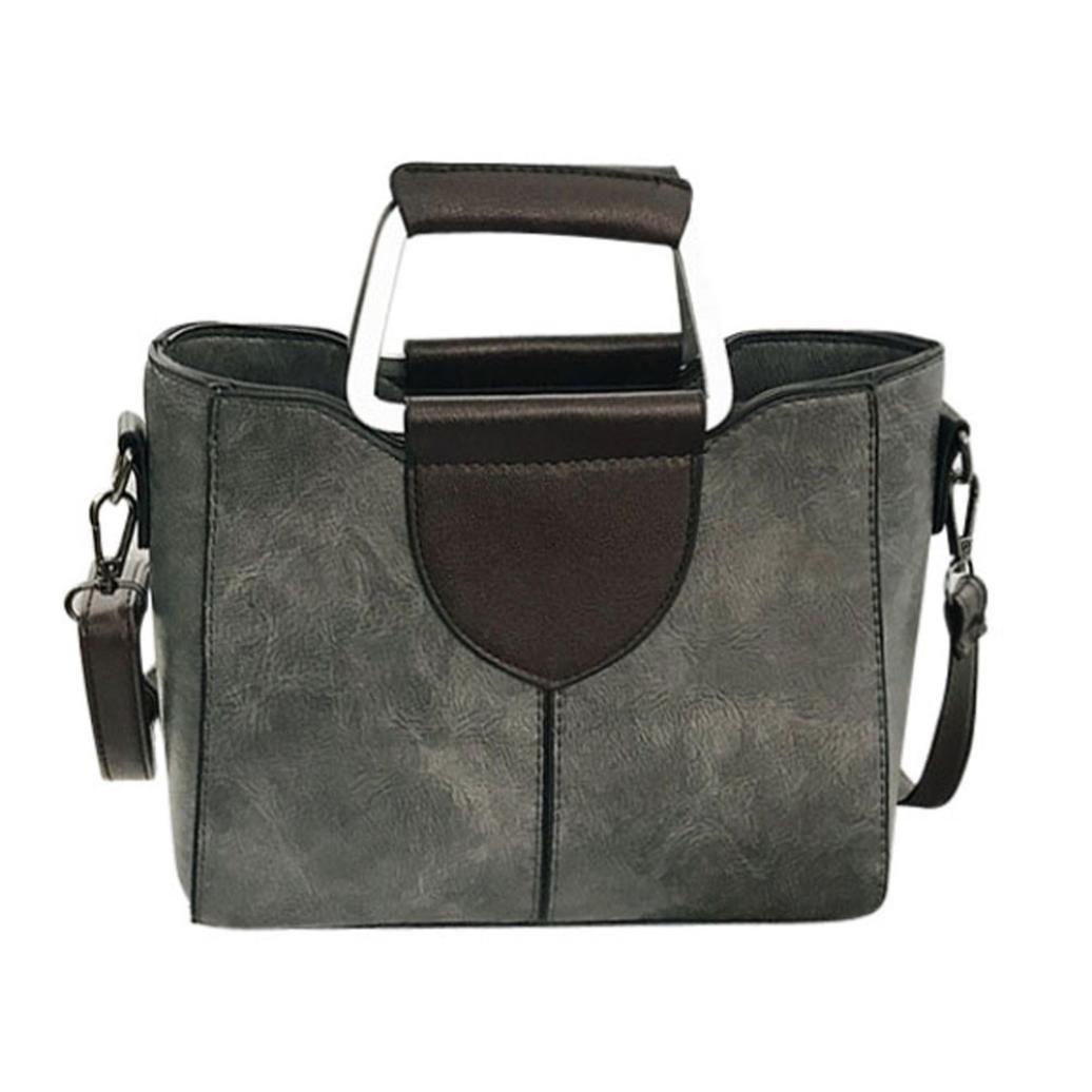 Sunyastor Women's Fashion Solid Color Leather Designer Purses Shoulder Bags with Corss Body Trendy Bag&Handbag (Gray, one Size)