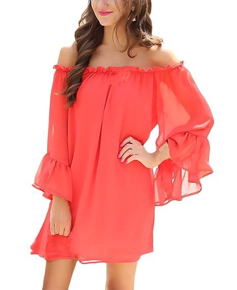 Blusa De Mujer Elegante Playa Spring Verano Moda De Marca Loose Casual Party Camisas Mujeres Manga Larga Hombros Descubiertos Gasa Color Sólido Camisetas ...
