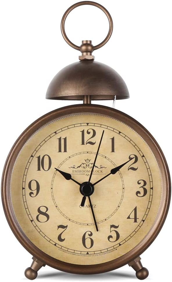 EMIROOM 5.5 Inch Retro Single Bell Loud Alarm Clock, Silent Non Ticking Battery Operated, Classic Small Table Alarm Clock for Bedroom (Arabic Numerals)