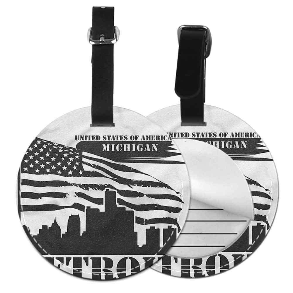 Suitcase Labels Bag Detroit,USA Flag Grunge City Id Tag Suitcase Carry