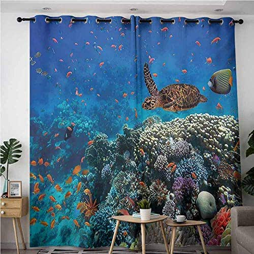 VIVIDX Extra Wide Patio Door Curtain,Fish Exotic Fish and Turtle in Fresh Water on Stony Corals Bio Diversity Wild Life Photo,Energy Efficient, Room Darkening,W72x96L,Multicolor