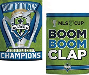 WinCraft Seattle Sounders FC 2019 MLS Cup Champions Boom Boom Clap Garden Flag 12.5 x 18 inches Double Sided