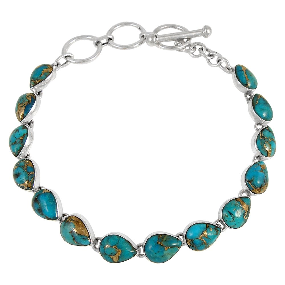 Turquoise Link Bracelet Sterling Silver 925 Genuine Turquoise & Gemstones (Teal/Matrix Turquoise)
