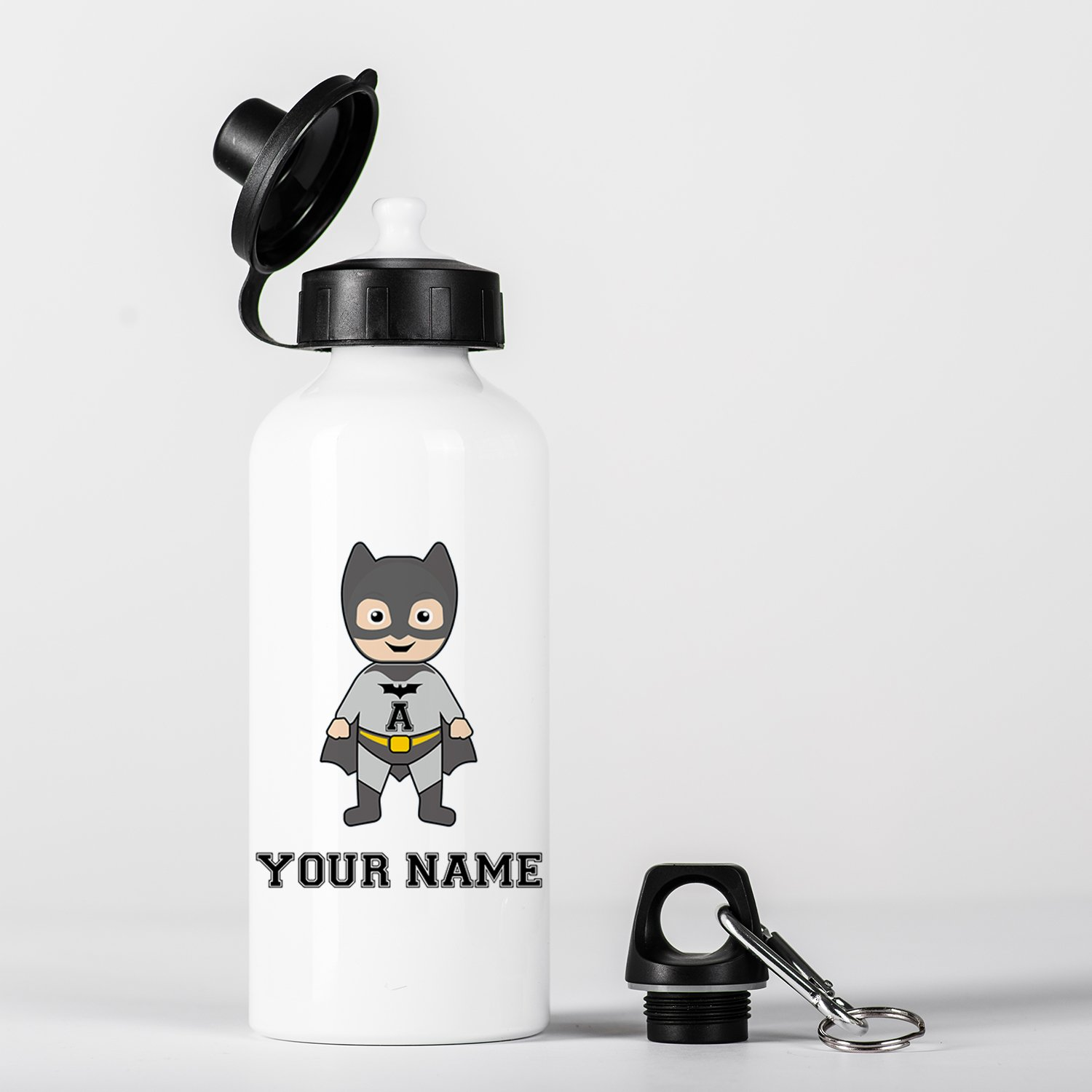 Customized Bat Super Hero Animal Children Kids Personalised Initial and Name Aluminium Water Bottle