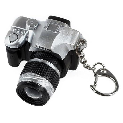 Llavero en forma de camara - SODIAL(R) Mini Llavero en forma de camara digital SLR estilo LED sonido de disparador de flash