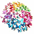 72 x 96 x 144 x PCS 3D Colorful Butterfly Wall Stickers DIY Art Decor Crafts for Nursery Classroom Offices Kids Girl Boy Baby Bedroom Bathroom Living Room Magnets and Glue Sticker Set 3D Luminous Dou