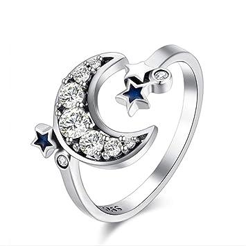 1035db159a6d Amazon.com  Rurah Platinum Adjustable Band Ring Fantasy Star Moon ...