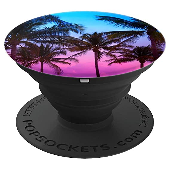 quality design 8190d a0c11 Blue and Purple And Pink Beach Sunset Palm Tree - PopSockets Grip and Stand  for Phones and Tablets
