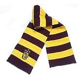 Bufanda de Rayas Harry Potter para Mujer, Tela de Punto súper Suave, Bordado a Mano, Ligera, Yellow+Red