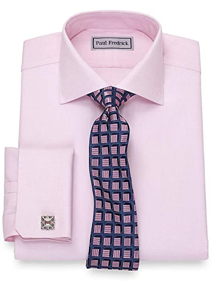 0cbf8e5c3c84 Paul Fredrick Men's Slim Fit Impeccable Non-Iron Cotton French Cuff Dress  Shirt Pink 14.5