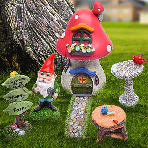 TERESA'S COLLECTIONS 6 Pcs Fairy Garden Accessories Kit-Miniature Garden Gnomes Statue Mushroom Fairy House Figurines for Outdoor Yard Decorations (Gnome Garden Kit Accessory)