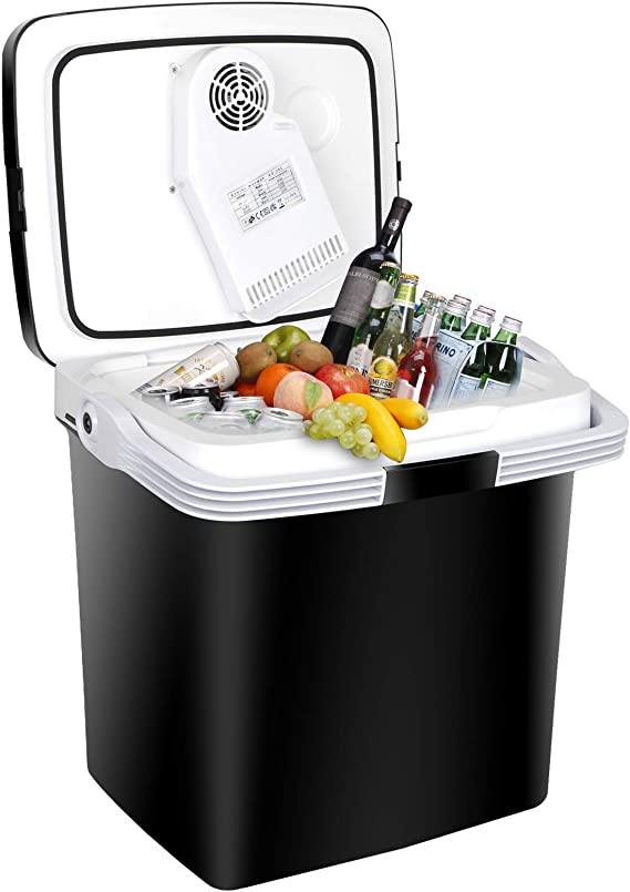 SUPER DEAL Gen2 Portable 26L Ice Car Cooler AC/DC Electric Ice Chest Mini Thermoelectric Cooler 28 Qt Camping Refrigerator for Camping