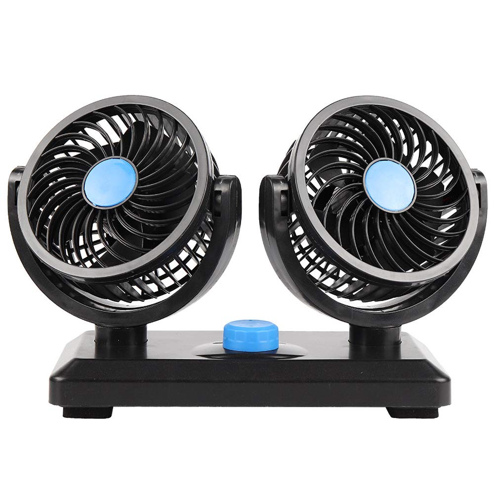 WIOR 12V 5 inches Dual Head Car Air Fan 360° Rotating Free Adjustment Automob...