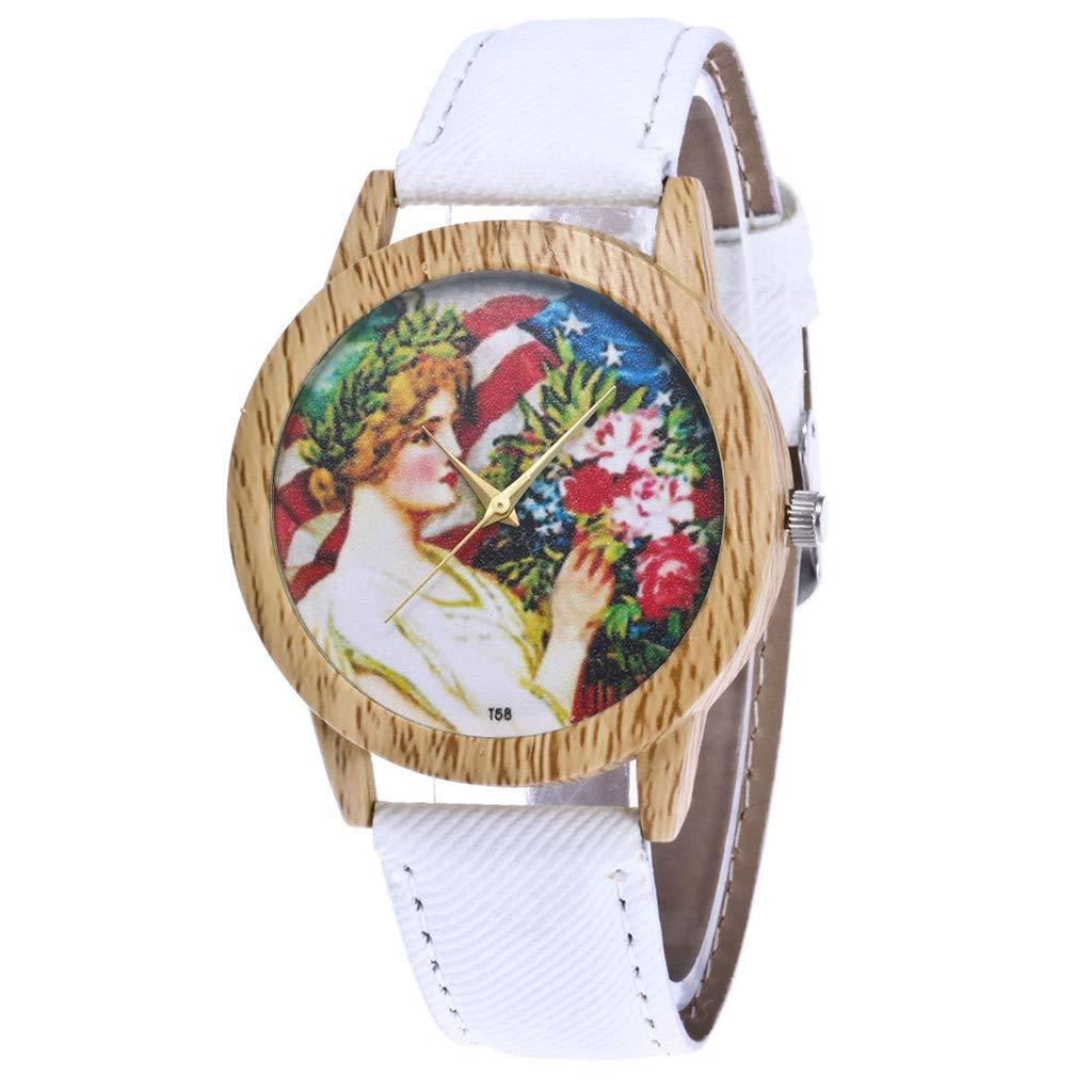 Iuhan Wrist Watches Bracelet for Women Girls Holiday Deals, Vintage Women's Fashion Casual PU Leather Strap Analog Quartz Round Watch Bracelet Birthday Valentine's Gift (White)