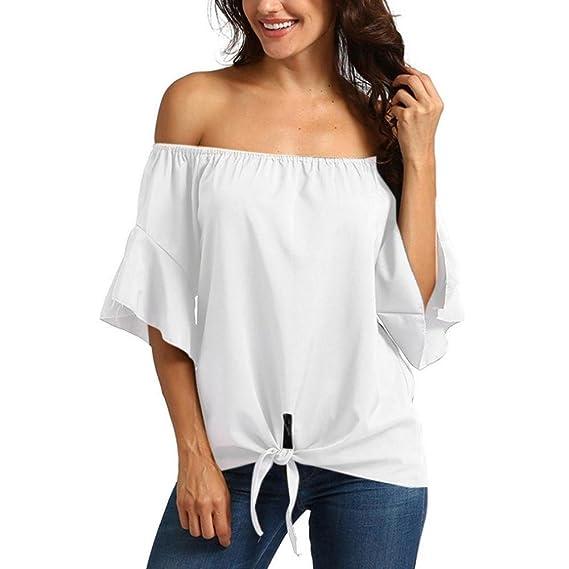 VENMO Camisetas Mujer,Tops Mujer Verano,Blusas Mujer,Sólido Camisetas de Manga Corta