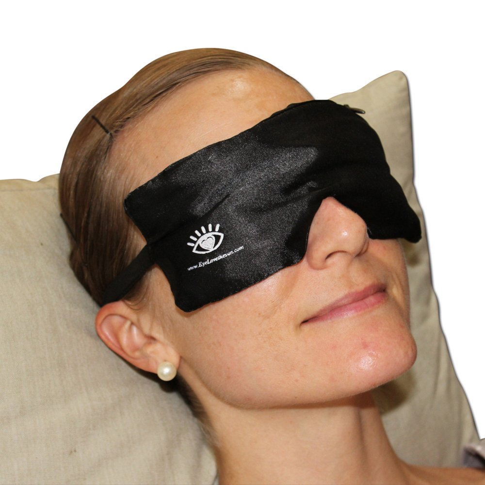 Warm Eye Compress Mask by Heyedrate for Soothing Dry Eyes, Blepharitis, Meibomian Gland Dysfunction, Styes, Headaches, Sinuses | Made with 100% Flaxseed & Lavender Interior and 100% Silk Exterior