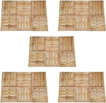 Festnight Baldosa de Porche Baldosas de Madera Exterior para Porche Patios Jardin 30 Unidades 50x50 cm Madera Marrón FSC: Amazon.es: Bricolaje y herramientas