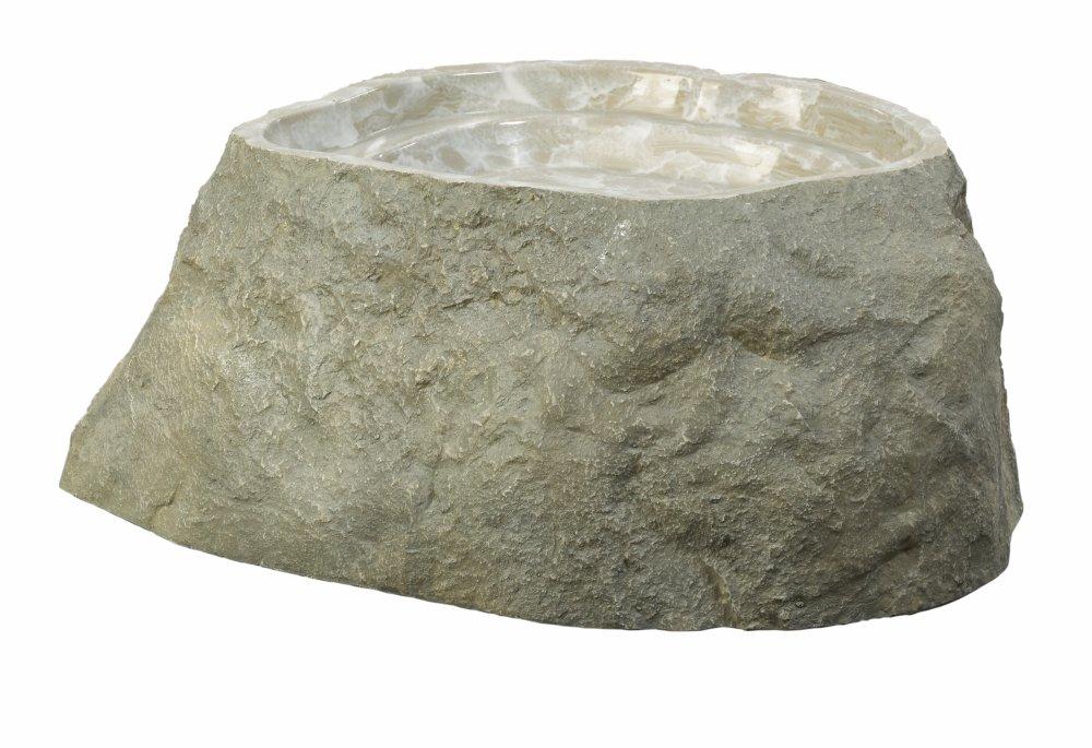 Outdoor Essentials Faux Birdbath Rock,  Grey,  Medium