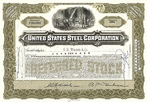 1938 LARGE SUPERB US STEEL STOCK CERTIFICATE (1910's-40's) w OLD SMELTER! CLASSIC AMERICANA! Share Amount Varies Very Fine to Extra Fine