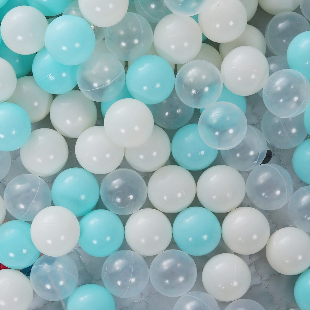 PlayMaty 50 Pieces Colorful Pit Balls Phthalate Free BPA Free Plastic Ocean Balls Crush Proof Stress Balls for Toddlers and Kids Playhouse Pool Ball Pit Accessories 2.7 Inches (Light Blue)