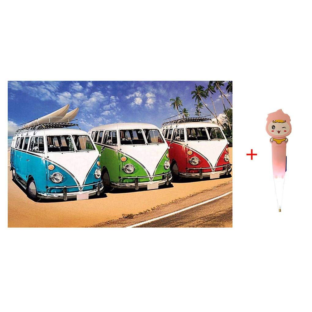Fighting 5D DIY Rhinestone Embroidery Pictures Seaside Bus Painting Diamond Cross-stitch Needlework Stitchwork Drawing Decor with Pen