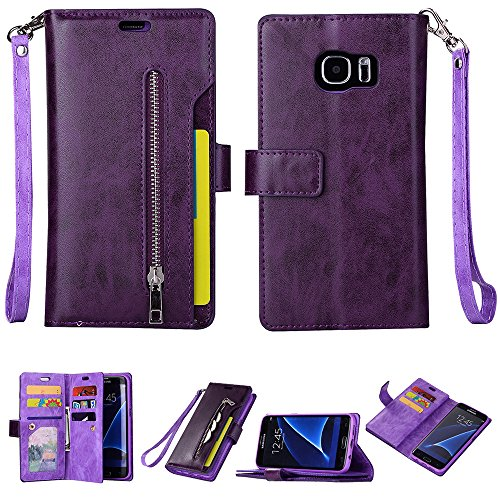 for Samsung Galaxy S7 Edge (5.5inch) Leather Case [Vintage Zipper] Multiple Card Slots PU Leather Magnetic Folio Flip Wallet Case Purse, Portable Sling, Stand Support