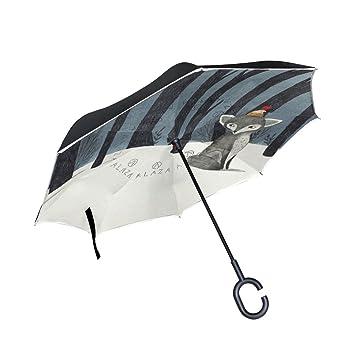 ALAZA La Prueba de Doble Capa Paraguas invertido Coches inversa Paraguas Fox Árbol del Invierno Bosque