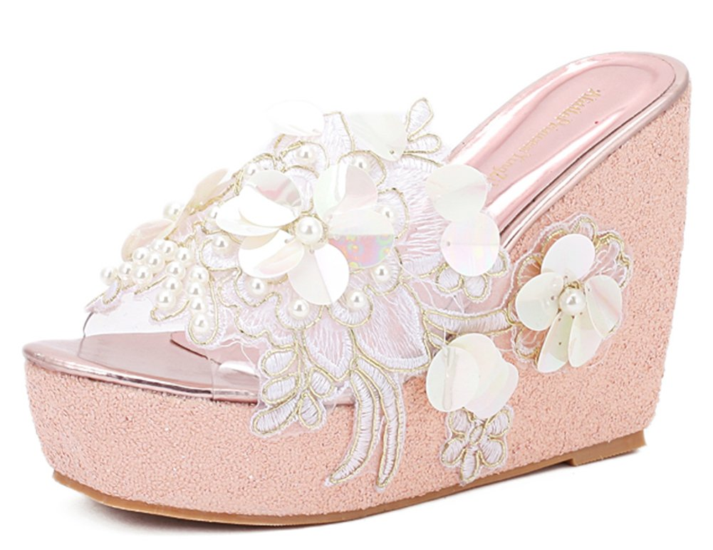 7699acca9 IDIFU Women s Comfy Flowers High Heels Wedge Platform Summer Slippers  Sandals (Pink
