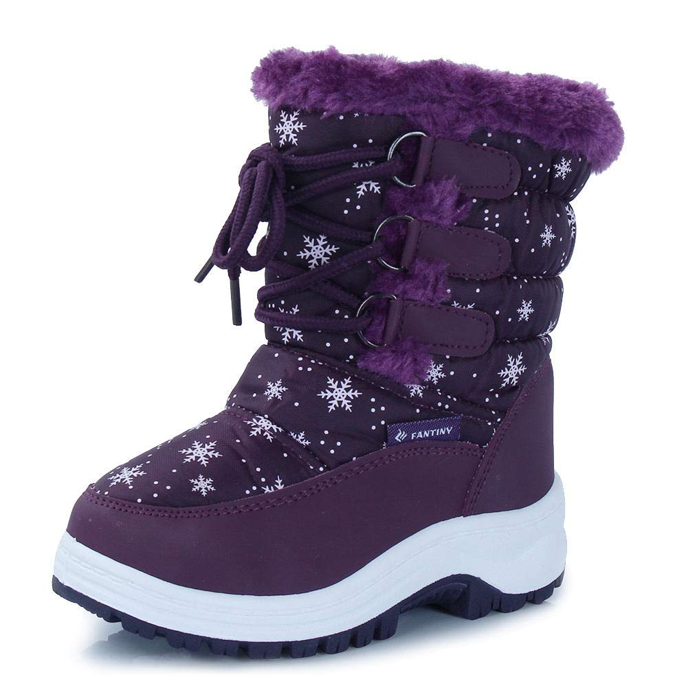 c85c94e90 CIOR Fantiny Winter Snow Boots for Boy and Girl Outdoor Waterproof with Fur  Lined(Toddler/Little Kids) TX3-Purple-27