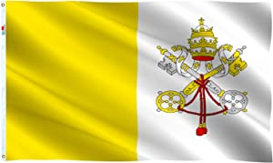 rhungift Vatican Flag 3x5 Ft Large, Moderate-Outdoor Both Sides 100D Polyester,Canvas Header and Double Stitched - Brass Grommets for Easy Display, 3' x 5' State of Vatican City Flags