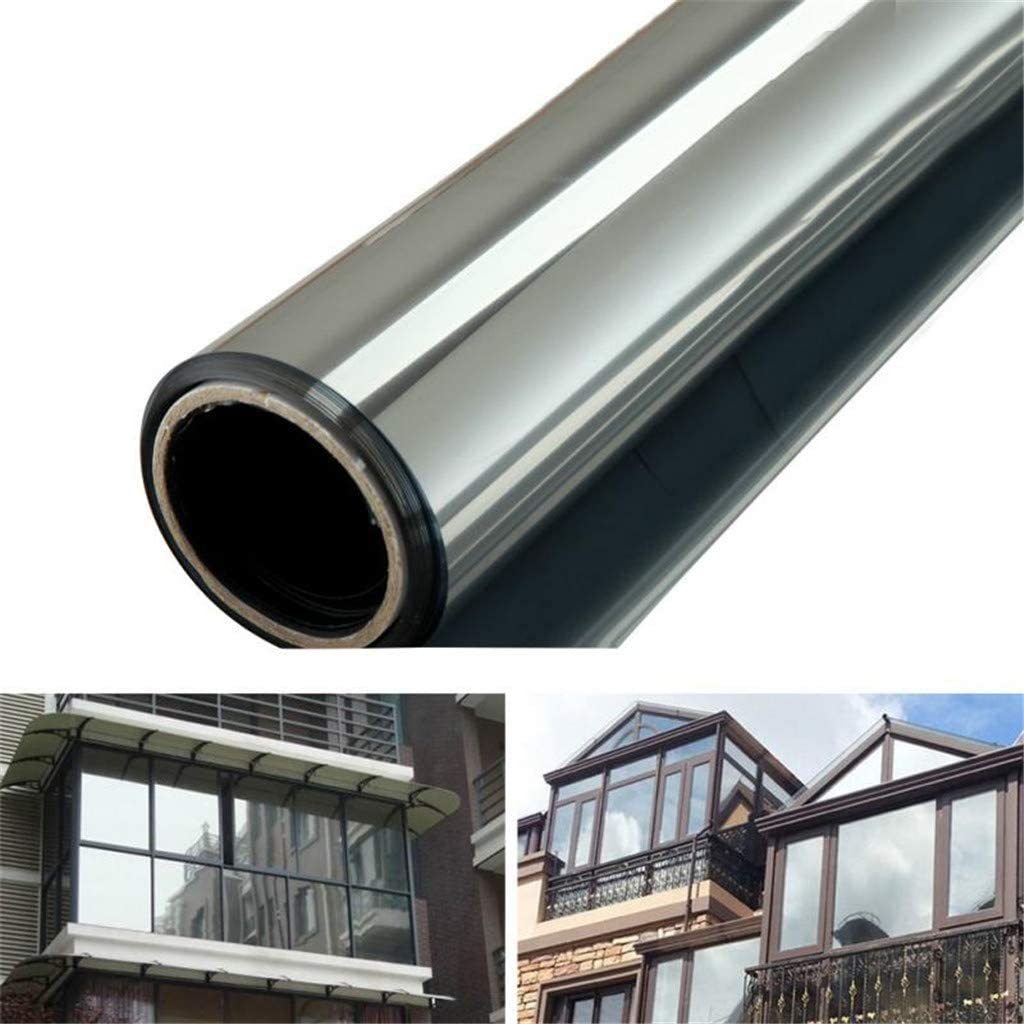 Gray, 40 x 200 cm One Way Mirror Window Film Heat Control Solar Reflective Windows Tint Anti-UV Films Daytime Privacy Glass Sticker for Office and Home
