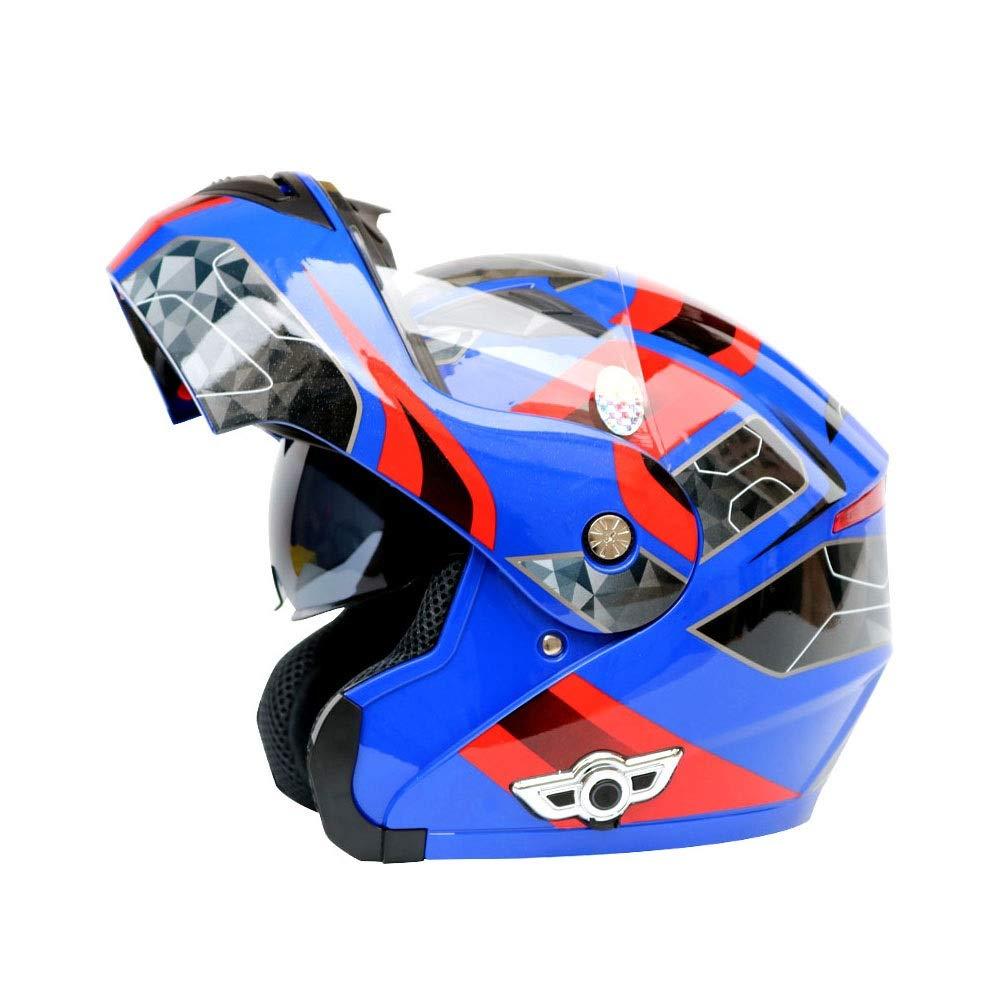 TOMSSL高品質 電動オートバイのBluetoothヘルメットモトクロスヘルメットダブルレンズのBluetooth発見ヘルメットオートバイのBluetoothヘルメット3000 MAh - 青 - 赤 - 大 TOMSSL高品質 (Size : L) Large  B07SMDV8TT