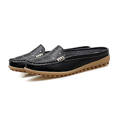 3f59d7e5beb91 Summer Women Genuine Leather Slippers Ladies Flat with Slides Breathable  Sandal Half Shoes