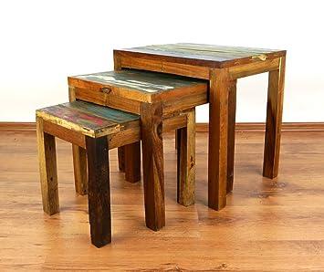 Java Beistelltische Im 3er Set | Recyceltes Buntes Bootsholz | Asiatische  Wohnzimmertische Im Günstigen Set |