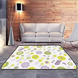 Rug Pad Flowers Pattern Nature Essence Beauty Blossoms Spring Image Lilac Apple and Olive Green Extremely Comfortable Floor Mats Machine Washable, 6 x 9 Feet