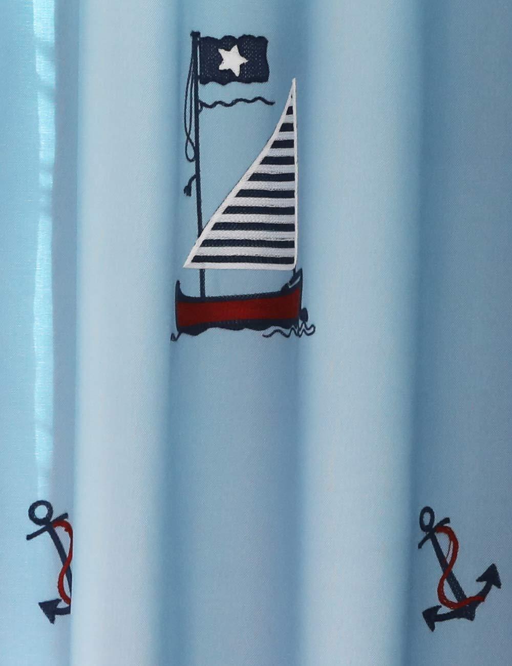 Lactraum Vorhang Kinderzimmer Junge Transparent Wei/ß Maritim mit /Ösen Bestickt Segelboot Anker Voile 100 x 245cm
